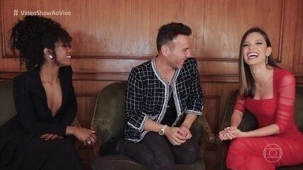 Erika Januza e Vitória Strada brincam de escolhas com Matheus Mazzafera