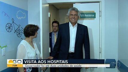 Ronaldo Caiado e novo secretário de Saúde visitam dois hospitais em Goiânia