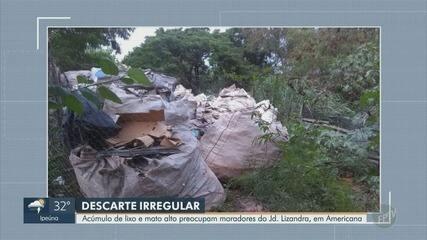 Descarte de lixo e mato alto preocupam moradores do Jardim Lizandra