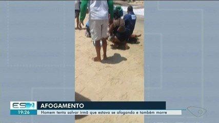 Irmãos morrem afogados em praia de Marataízes, ES