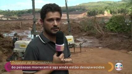 André Curvello mostra imagens de onde era a pousada que foi arrastada pela lama