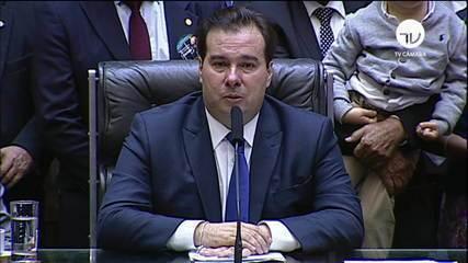 Rodrigo Maia (DEM) discursa após ser reeleito presidente da Câmara dos Deputados