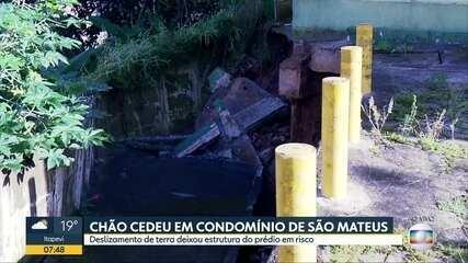 Chão de condomínio cede durante chuva na Zona Leste de São Paulo