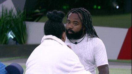 Rodrigo fala com Rízia sobre ter sido primeira opção dela em Prova do Líder: 'Grande susto'