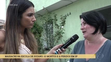 Patrícia Poeta conversa com vizinhos que abrigaram alunos em fuga da escola Raul Brasil
