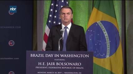 Bolsonaro discursa na Câmara de Comércio dos EUA