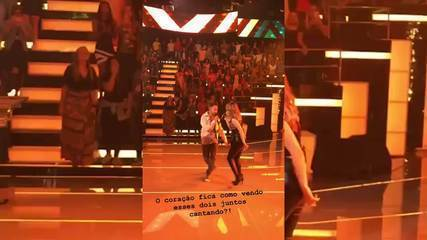 Sandy e Junior cantam no palco do Caldeirão