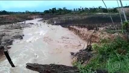 Barragem se rompe em Machadinho D'oeste, em Rondônia