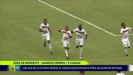 Cleitinho, do Sampaio Corrêa, marca golaço contra o Bahia na Copa do Nordeste