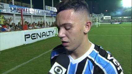 Pepê fala sobre chance perdida após empate sem gols do Grêmio contra o São Luiz