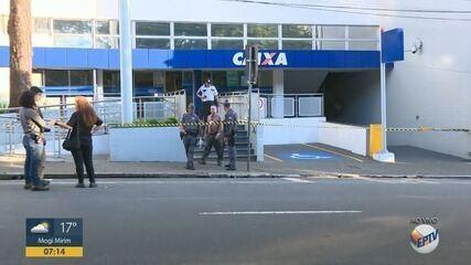 Criminosos tentaram roubar cofre de uma agência da Caixa, em Limeira