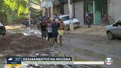 Moradores ajudam no resgate de vítimas de prédio que desabou na Muzema