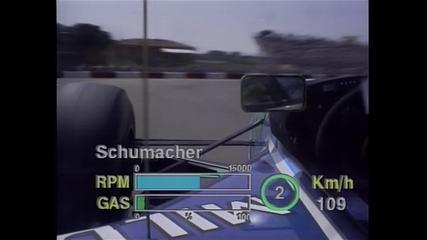 Volta de Michael Schumacher em Imola, em 1994, vista pela câmera onboard