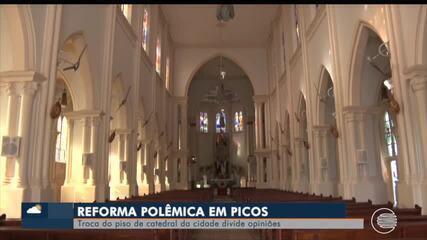 Troca do piso da catedral de Picos divide opiniões