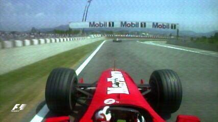 Barrichello fez ultrapassagem dupla sobre os irmãos Schumacher em 2000