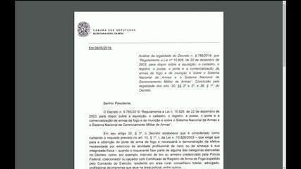 GloboNews mostra documento da Câmara que aponta inconstitucionalidades no decreto das armas