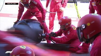 Leclerc tem problemas na troca de pneus na mesma roda que Vettel