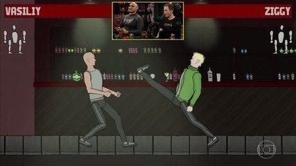 Tiago Leifert e Rex jogam o game de luta Dust-Up