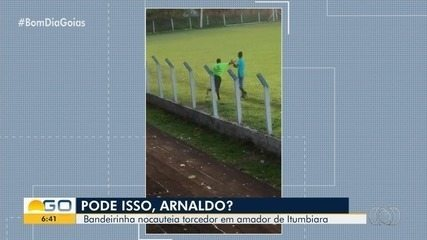 Após ser provocado e empurrado, bandeirinha dá soco e 'apaga' torcedor em Itumbiara; vídeo