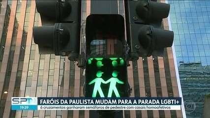 Semáforos de pedestres da Avenida Paulista entram no clima da Parada do Orgulho LGBTI+