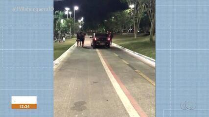 Motoristas são flagrados dirigindo carros em via exclusiva para pedestres na Graciosa