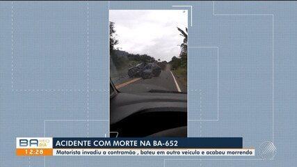 Homem morre em acidente na BA - 652; Vídeo mostra momento exato da colisão