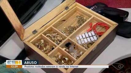 Produtos roubados são colocados à venda em site na internet, em Guarapari, no ES