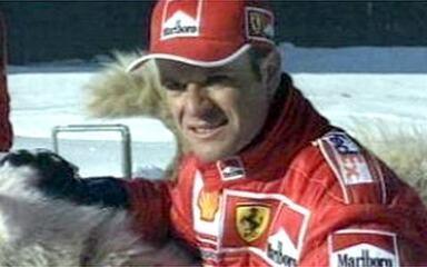 Em 2000, na primeira temporada juntos, Schumacher e Rubinho se divertem na neve