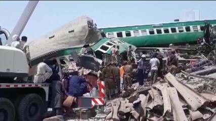 Acidente entre trens de passageiro e cargas deixa dezenas de pessoas mortas no Paquistão