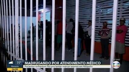 Pacientes passam a madrugada na fila para marcar exame em Nilópolis