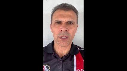 Milton Mendes grava vídeo pedindo apoio da torcida do Santa Cruz