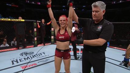 Gillian Robertson venceu Sarah Frota por nocaute técnico no UFC 240