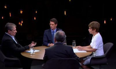 Renata Lo Prete media o debate entre Ricardo Salles, Ricardo Galvão e Marcello Brito