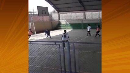 Deitou: Gisele, de 14 anos, marcou um golaço nos Jogos Escolares de Rondônia