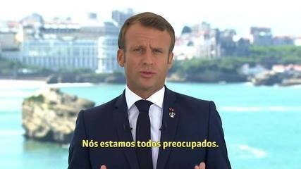 'Estamos todos preocupados', diz Emmanuel Macron sobre Amazônia
