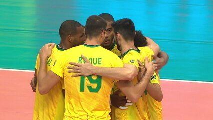 3º set: No erro de saque da Argentina, Brasil fecha o jogo. 25x20