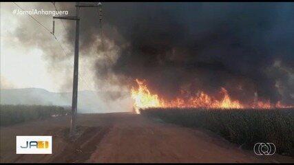 Queimada atinge rede de distribuição e causa apagão em oito cidades do sudoeste de Goiás