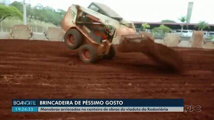 Operário brinca com pá carregadeira no maior canteiro de obras de Londrina