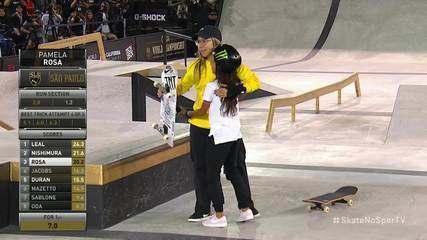 Pâmela Rosa voa no fim e puxa dobradinha com Rayssa Leal no Mundial de skate street