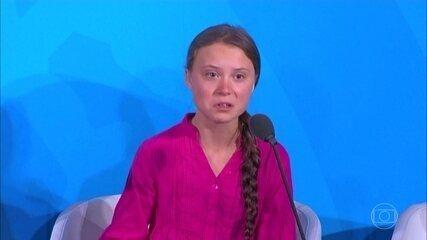 Greta Thunberg faz discurso emocionado na abertura da Cúpula de Ação Climática