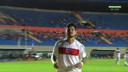 Gol do CRB!!! Léo Ceará abre o placar contra o Vila Nova, aos 24' do 1º tempo