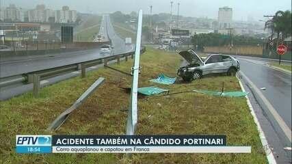 Homem fica ferido após carro aquaplanar e capotar na Rodovia Candido Portinari em Franca