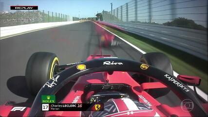 Agora é Leclerc que perde o retrovisor