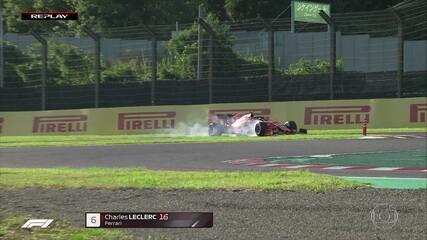 Norris passa por Grosjean e Leclerc frita pneus