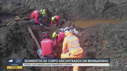 Bombeiros localizam parte de corpo em área de tragédia da Vale, em Brumadinho