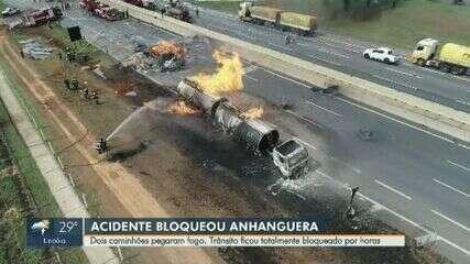 Caminhões pegam fogo e Rodovia Anhanguera tem interdição nos 2 sentidos