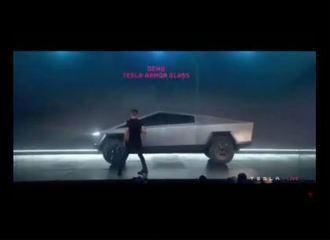 Anúncio de caminhonete elétrica da Tesla com 'vidro inquebrável' termina em vexame