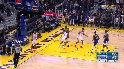 Melhores momentos: Oklahoma City Thunder 100 x 97 Golden State Warriors pela NBA