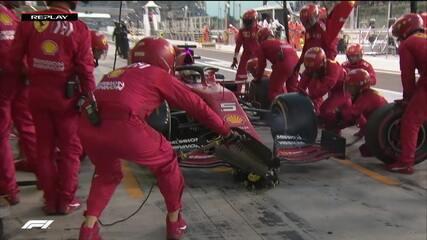 Ferrari faz pitstop dos dois pilotos, mas Vettel tem problemas na troca de pneus