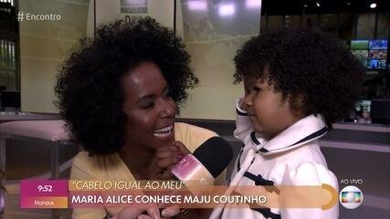 Veja a reação de Maria Alice ao conhecer Maju Coutinho